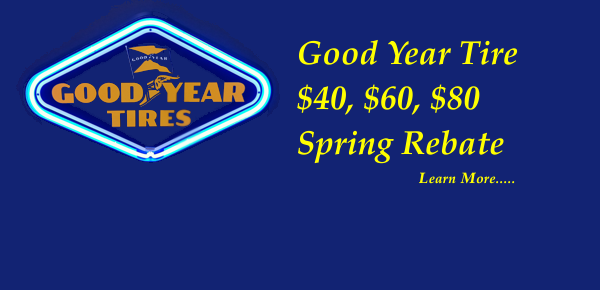 Spring tire savings from good Year at the Northwood garage